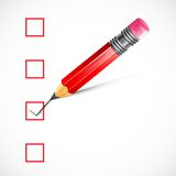 Pencil ticking Check Box Stock Photo