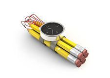 Pencil time bomb. 3D render of time bomb with pencils as explosive Royalty Free Stock Images