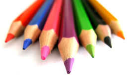Pencil tips. Multicolored pencils closeup focus on tips Stock Photo