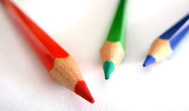 Pencil tips. Red green and blue pencils closeup focus on tips Stock Images