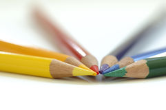 Pencil Tips. Colourful Pencils focussed on the tips stock photography