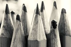Pencil Tips in Black and White royalty free stock photography
