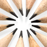 Pencil tips in a circle - macro shot Royalty Free Stock Image