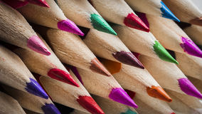 Pencil Tips. A macro shot of coloured pencil tips stock photography