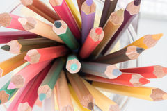 Pencil. Top view of a mix of colored pencils Royalty Free Stock Photography