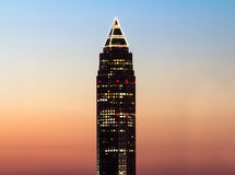 The pencil tower(Messeturm) at sunset Stock Images
