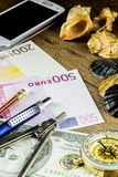 Pencil in travel composition with fotocamera,money and other acsessories Stock Photography