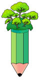 Pencil tree. Green trees and plants glowing healthy on top of a pencil Royalty Free Stock Photo