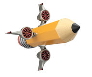Pencil with turbine engines and wings Royalty Free Stock Image