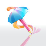 Pencil umbrella Royalty Free Stock Image
