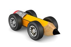Pencil with wheels on white background. Isolated 3D illustration Stock Photos