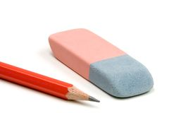Pencil on White. Pencil and eraser isolated over a white background Royalty Free Stock Images