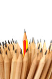 Pencil   on white background concept  idea leadership. Royalty Free Stock Image