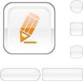 Pencil white button. vector illustration