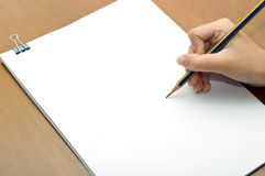 Pencil and white paper close-up view Stock Photography