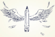 Pencil with wings Royalty Free Stock Photo