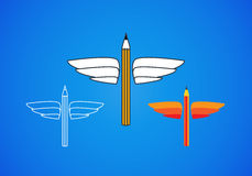 Pencil with wings  symbol Royalty Free Stock Photo