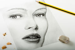 Pencil Woman Drawing Stock Photography