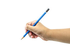 Pencil in woman hand Stock Images