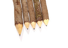 Pencil Wood Bark. Isolated on White royalty free stock photography