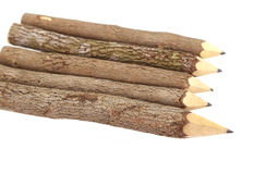 Pencil Wood Bark Isolated. On White royalty free stock photos