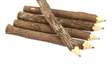 Pencil Wood Bark Isolated. On White stock photos