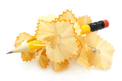 Pencil in wood shavings Royalty Free Stock Image