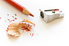 Pencil and wood shavings Stock Photo