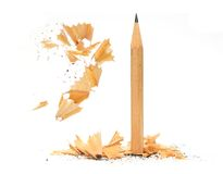 Pencil and wood shavings Royalty Free Stock Image