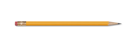 Pencil. A wooden pencil with an eraser, isolated on white with clipping path Stock Image