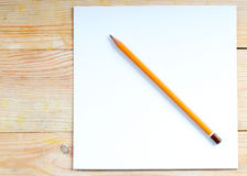 Pencil on a wooden table. Back to school. Copy space royalty free stock photo