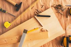 Pencil on woodwork carpentry workshop table royalty free stock photo