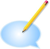 Pencil and word balloon on white background Stock Photography