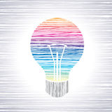 Pencil work bulb and line pattern Royalty Free Stock Photography