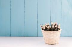 Pencil in woven basket Stock Photos