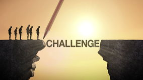 Pencil write 'CHALLENGE', connecting the cliff. Businessman crossing the cliff, business concept.
