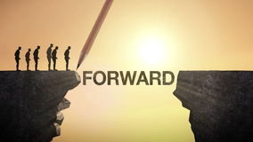 Pencil write 'FORWARD', connecting the cliff. Businessman crossing the cliff, business concept.