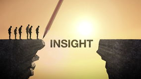 Pencil write 'INSIGHT', connecting the cliff. Businessman crossing the cliff, business concept. stock video
