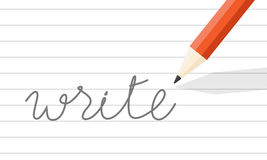 "Pencil write on line paper. Orange wooden pencil write on line paper. the word ""write"" one paper Stock Photo"