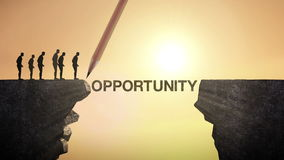 Pencil write 'OPPORTUNITY', connecting the cliff. Businessman crossing the cliff, business concept.