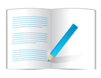 Pencil writing on a book. illustration design Royalty Free Stock Photography