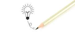 Pencil  writingฺ bulb idea Royalty Free Stock Photography