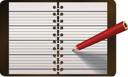 Pencil writing in diary vector Royalty Free Stock Image