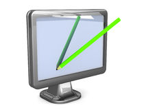 Pencil writing on a monitor screen Stock Photography