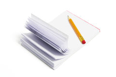 Pencil and Writing Pad Stock Image