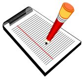 Pencil with writing pad. Illustration for the pencil with a writing pad stock illustration