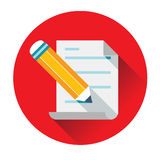 Pencil writing text on paper icon. Ftat Stock Photography