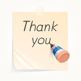 Pencil writing thank you on paper note Royalty Free Stock Photography
