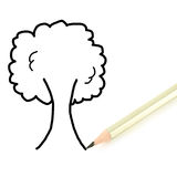 Pencil writing tree isolated on white background Royalty Free Stock Photos
