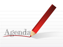 Pencil writing the word Agenda. illustration Stock Photos